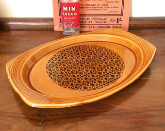 Mid Century Irish Ceramic glazed Serving Platter by Brendan Erin Stone - Made in Arklow - Mustard Yellow and Brown