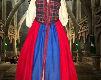 FREE SHIP Scot Irish Celtic SCA Garb Medieval Tartan Plaid Renaissance Frt-Lcg Bod Drawstr Overskirt lxl