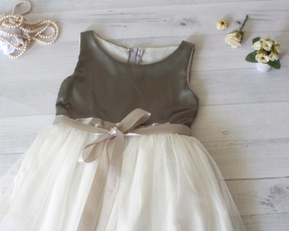 Grey And White Girls Dress Flower Girls Dress Girls Formal