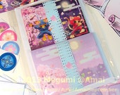 """Set of 4 or 6 - 4x5"""" Ninja Kitties & Cherry Blossoms Folded or Flat Double-sided Cards, matching Envelopes, Stickers - cute cat sword katana"""
