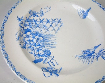 Antique french bright blue ironstone transferware plates. Set of 4. Antique french transferware. Bright blue transferware. Antique plates