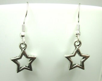 Small silver star charm earrings with 925 sterling silver or silver plated ear wires, metal star, celestial jewelry,