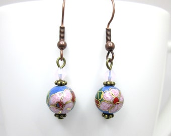 CLEARANCE Blue and pink rustic victorian floral flower earrings, swarovski rose water opal,