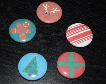 Christmas Xmas pinback button badge SET OF 5