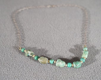 Vintage Southwestern Style Sterling Silver Turquoise Beaded Necklace Jewelry    K