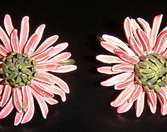 Corocraft Clip on Pink Chrysanthemum Earrings