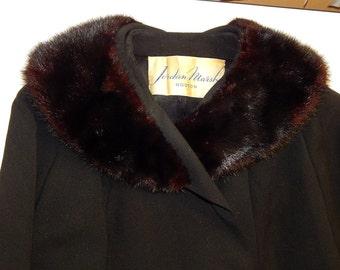 Vtg 50-60's Jordan Marsh Women BLACK Wool Double Breasted Trench Coat MINK FUR Collar Jacket L Lg