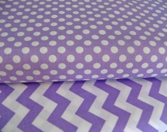 1 Yard Each Fabric Bundle Riley Blake Small Lavender Dot Small Lavender Chevron Cotton Quilting Fabric