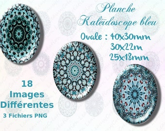 Ornements Mandalas - Printable Images - 30x40mm and 22x30mm ovals - Digital Collage Sheets  - Instant Download ,  craft supplies, clipart