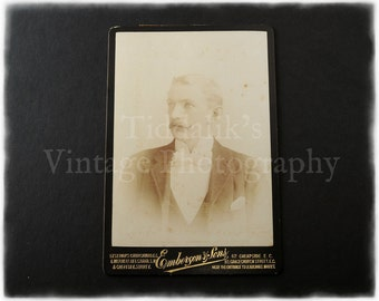 Cabinet Card Photograph of of a Mustached Young Man - Emberson & Sons of London and Chertsey Surrey