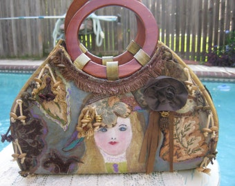 Hand Painted French Girl Purse with Fabric and  Excellent Art Useage of Mixed Media, Pretty Girls Face .