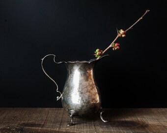 Small Silverplate Pitcher / Creamer - Repurposed Vase / Pencil Holder - Shabby Chic - Romantic Decor