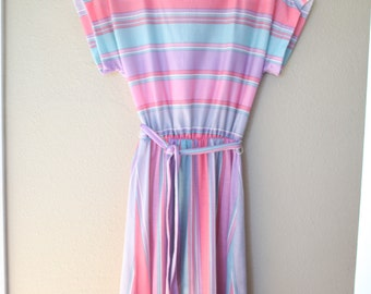 vintage 1980s rainbow stripe tie dress