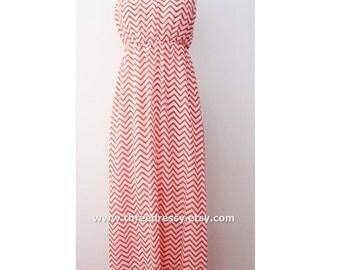 Clearance SALE Coral Chevron Maxi Dress Causal Maxi Dress Long Dress Summer Maxi Dress