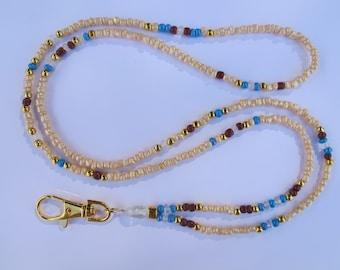 Cream with Blue, Brown and Gold Lanyard. Handmade Beaded ID Badge Holder. Necklace ID Holder. Cream Glass beads. Aquamarine gemstone beads.