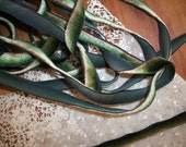 1 yd. of a Very RARE Silk Velvet green ombre French ribbon work ribbon