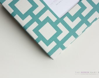 Free shipping. MODERN Baby Book // Teal Geometrics Cover // baby book. baby keepsake. memory book. baby shower gift