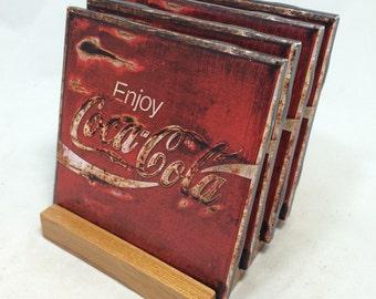 "HANDMADE ""Coca Cola"" Drink Coasters   Set of FOUR   The Coaster Attic"