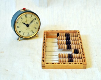 Small Russian Wooden Vintage Abacus Soviet Era 70's - 1970s - from Russia / Soviet Union / USSR- Red - White