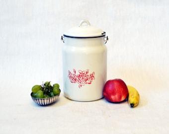 Big soviet vintage Enamel Milk or Cream Can With Lid - White -1970s, Made in USSR,Kitchen decor, Farmhouse decor, Soviet Union