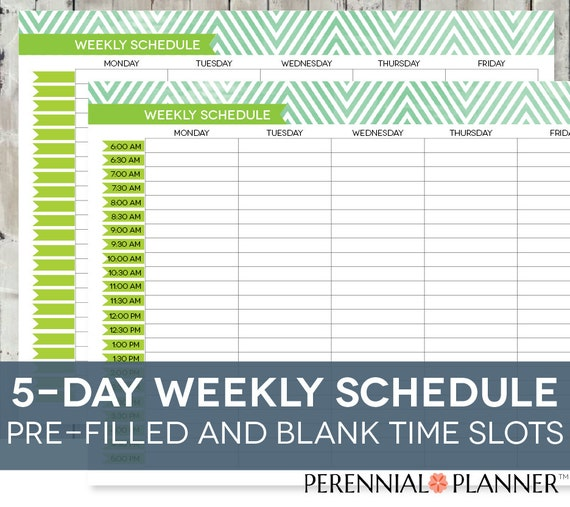 Daily Schedule Printable, Editable Times, Half Hourly Weekly Weekday  Planner For Moms, Homeschool Planner, Chevron Theme, Instant Download  Free Daily Calendar Template With Times