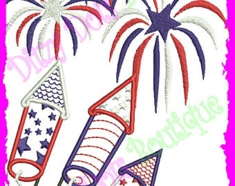 Fireworks Exploding, 4th of July Applique