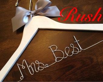 RUSH ORDER, ships next business day---Wedding Hanger, Name Hanger, Personalized Bridal Gift, Bride gift ideas, Dress hanger