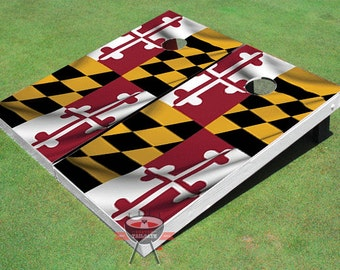 Custom Corn Hole Maryland State Wavy Flag Graphic Cornhole Boards