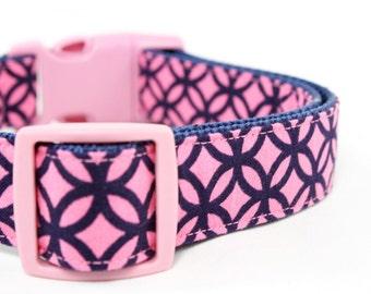Pink and Navy Dog Collar Modern Flower Adjustable Geometric Girl Dog Collar - Lily