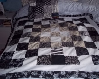 hand made patchwork  lap quilt / throw
