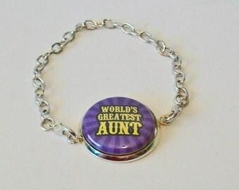 New Purple Stripe World's Greatest Aunt Silver Chain Fashion Bracelet