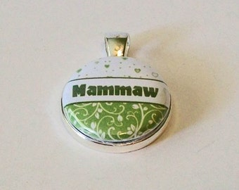 Light Green and White Floral Mammaw Ever Grandmother Round Silver Pendant