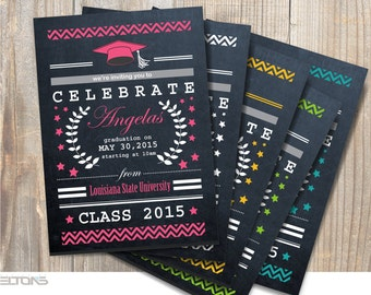 Graduation Invitation, Graduation Invitation Chevron & Chalkboard, Double-Sided College Announcement, DIY