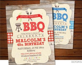 BBQ Birthday Party Invitation / Wood Back BBQ Party Invitation