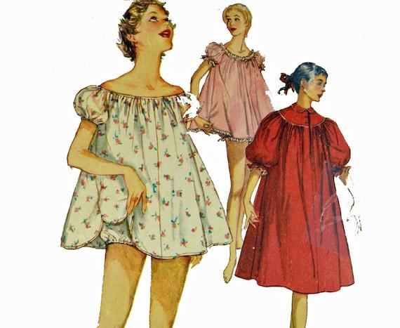50er jahre vintage damen pyjama muster babydoll nachthemd. Black Bedroom Furniture Sets. Home Design Ideas