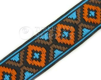 Turkish Kilim Motive Woven Border Embroidered Ribbon Sewing Trim Turquoise Brown Black Orange Jacquard Ribbon 1 Meter (1.09 Yards, 3.3 feet)