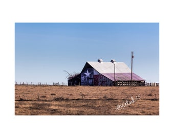 Lonestar Barn Fine Art Photography Texas Landscape Photography Large Art Country Western Decor Out West Flag Red white Blue Farm Rural Route