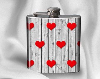 Hip Flask - Hearts on Wood - Alcohol - Liquor