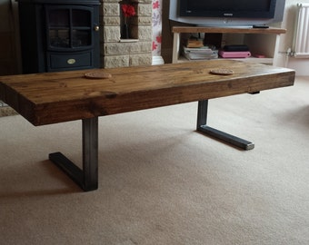 Coffee table in chunky rustic design with steel L shaped legs for industrial chic