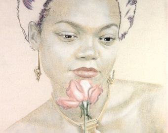 Portrait of Eartha Kitt, holding a pink rose