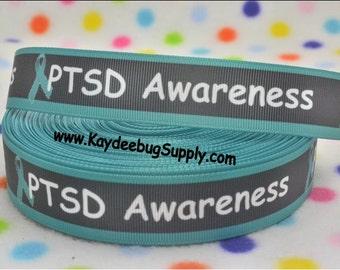 3 yards PTSD - Post Traumatic Stress Disorder Awareness Ribbon - 7/8 inch Printed Grosgrain Ribbon