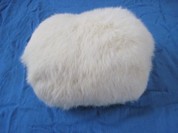 Vintage White Rabbit Fur Muff Hand Warmer Girls Fur Muff