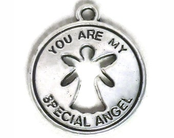 8 Silver Angel Charm Pendant 21x18mm by TIJC SP1035