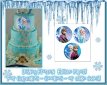 Round Disneys Frozen edible cake decorations- Sugar characters Stickers sheet picture fondant decal transfer  paper ideas party Anna Elsa