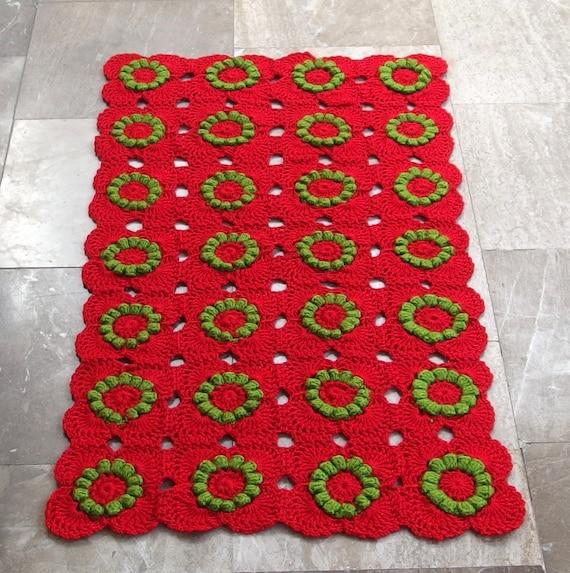 Vintage Crochet Bath Mat Kitchen Rug Runner By