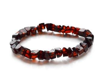 Baltic amber bracelet Cherry beads jewelry Women Teens. High quality polished genuine amber bracelet. Baltic amber. 4376