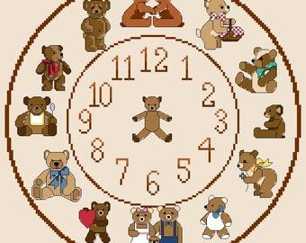 Teddy Bear Themed Cross Stitch Clock Chart / Pattern