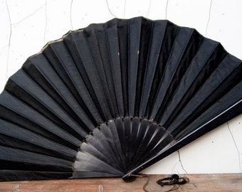 Antique Victorian Black folding lacquered Wood and Satin Mourning Fan