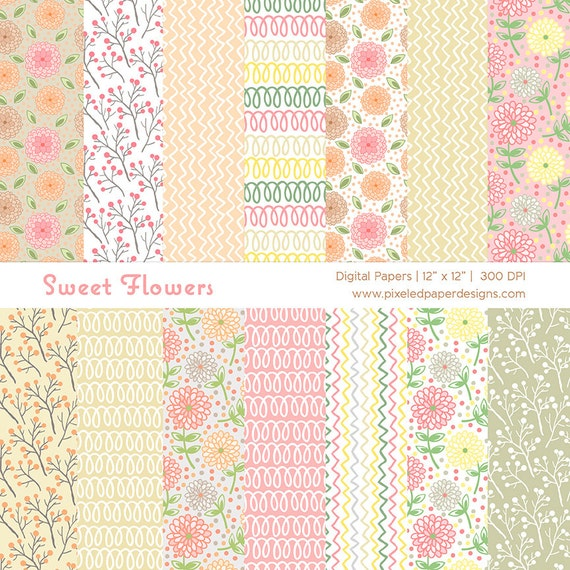Sweet Pastel Flowers Digital Paper Pack - Digital Background for Scrapbook, Card, DIY projects, etc | Commercial License Available