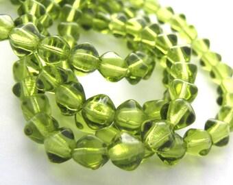 Green Olivine 6mm Bicone Czech Glass Beads 50pc #2622